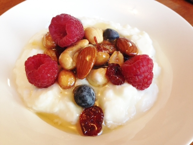 Greek Yogurt With Berries, Nuts And Honey Recipe — Dishmaps