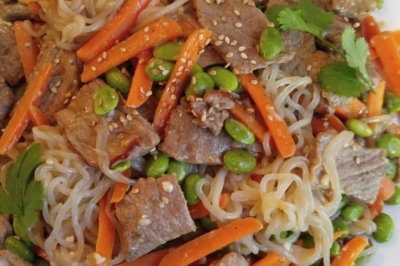 Gluten Free Yam Noodle Stir Fry with Edamame