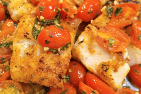 Gluten Free Pan-Seared Cod with Tomato Basil Sauce