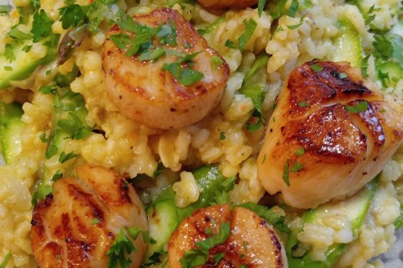 Gluten Free Scallop Risotto with Asparagus