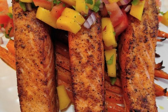 G-Free Salmon with Mango Salsa & Roasted Carrots