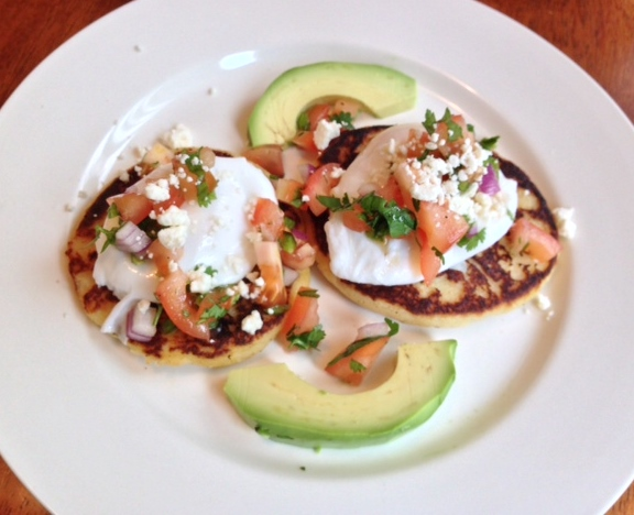 Gluten Free Corn Cakes with Poached Eggs