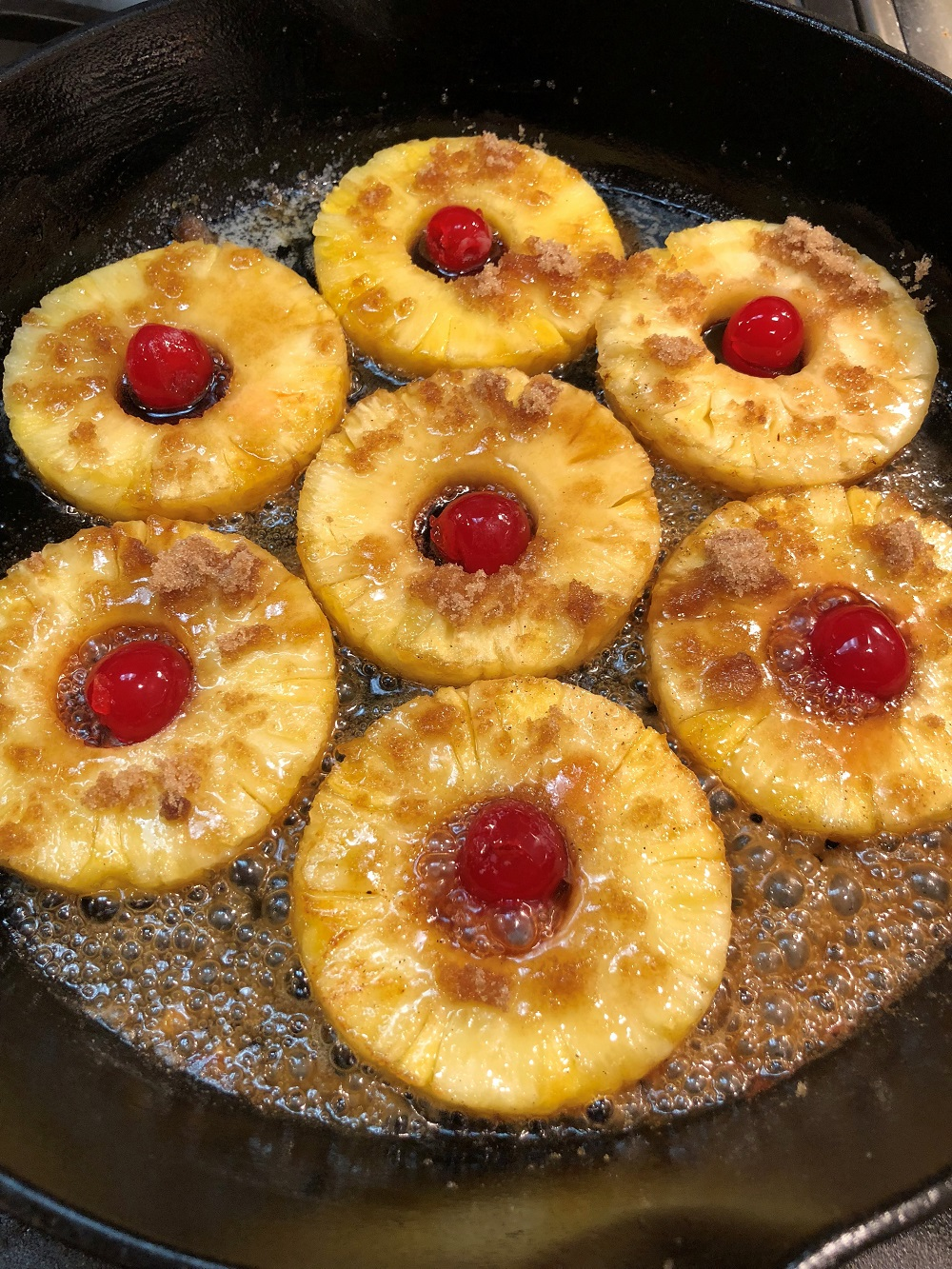 Pineapple Upside Down Cake In A Cast Iron Fry Pan